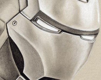 Iron Man - Original Framed Charcoal Artwork