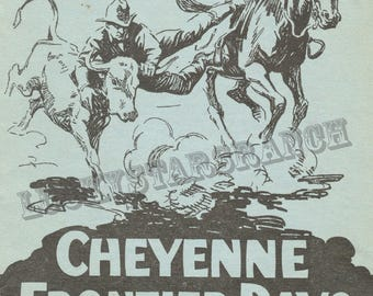 Cheyene Frontier Days Daddy of 'em all 1928 Cowboy Cowgirl  Rodeo 18x24 Vintage Print