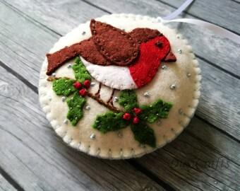 PRE ORDER / Felt Robin bird ornament, Felt Christmas ornaments, Christmas decoration, Christmas decor, Woodland Christmas Felt bird ornament