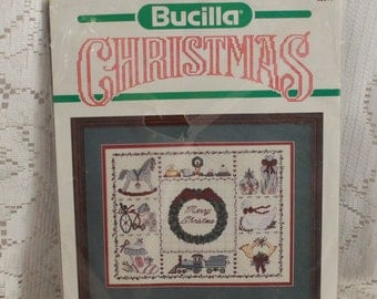 "Bucilla Christmas counted cross stitch kit #82311 ""Merry Christmas"" 11"" x 14"" Sampler sealed"