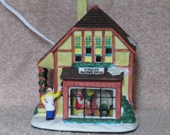 Vintage 1998 Working Burberry Village Christmas Village Lighted Porcelain Tingue's Barber Shop Similar to Dept 56 or Lemax