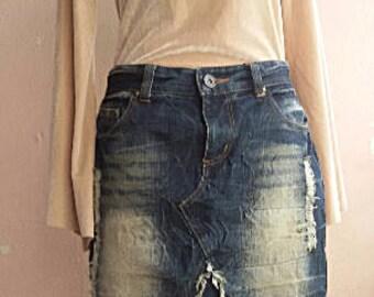 Denim Skirt - Asymmestry Hem - 30 inch Waist - Japanese Vintage