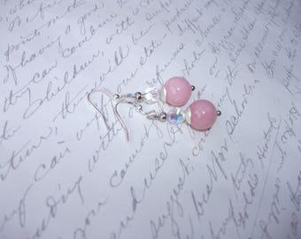 Pink jade earrings with crystal