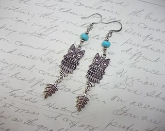 Owl earrings with turquoise howlite stones and leaf charm