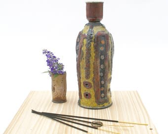 Yellow and Orange Incense Burner #07, Earthy Raku Copper Incense Bottle, No Mess Ceramic Incense Bottles, Pottery Incense Burner