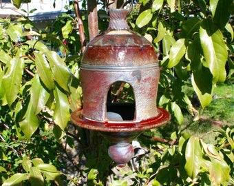 Large Red and Copper Raku Bird Feeder #07, Metallic Ceramic Raku Bird Feeder, Hanging Pottery Lantern