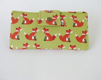 Fox Wallet, Handmade Ladies Wallet, Womens Bi Fold  Clutch