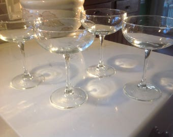 Vintage Crystal Large Coupes or Margarita Saucers - set of 4 Made in France