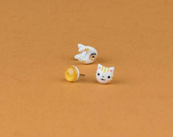 Maneki Neko Cat Earrings - Gold Lucky Cat Earrings Polymer Clay, Attract Wealth and prosperity | Handmade & Handpainted
