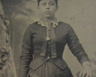 Original 1870's Stoic Awkward Young Woman Tintype Photograph - Free Shipping