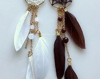Long Feather Earrings - Dreamcatcher Feather Earrings - Brown or White Boho Chic Feather Earrings