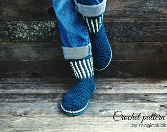 Crochet pattern- women boots on flip flop soles,slippers,loafers,outdoor,home shoes,for women,girls,adults,casual look,teens,footwear