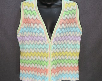 60s 70s Vintage Pointelle Knit Sweater Vest. Peach Pink, Purple,  Green, Aqua, Blue, Yellow, White Zig Zag Striped Cardigan Vest. Size M L