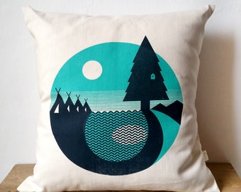 "Forest Camping Screen Print Cushion sized approx. 12""x12"""