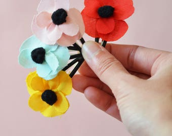 Flower hair clip. Fabric flower hair accessories for girls.