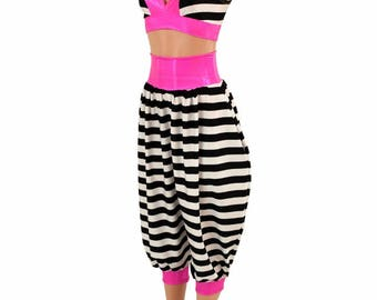 Neon Pink Holo Starlette Bralette w/Black and White Stripe Cups & Black and White Stripe Genie Pants w/Neon Pink Holo Band and Cuffs 155070