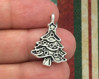 10 Silver Christmas Tree Charm Pendant SP0248