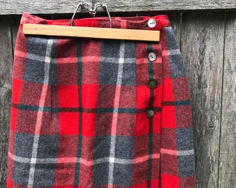 Wool Plaid Mod 60's Wrap Skirt