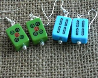 Mini Mahjong Earrings - Chinese Earrings - Mahjong Jewelry - Colored Mahjong - Oriental Jewelry - Mahjong Gift - Oriental Gift
