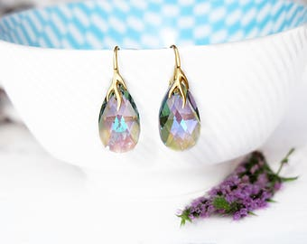 Purple bridal crystal earrings Rainbow Swarovski crystal earrings Purple rose gold bridesmaid earrings bridesmaid gift Wedding jewellery 5