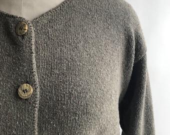 Vintage 90's Brown Grey Cardigan Sweater Size M / Alps Sweater Cardigan