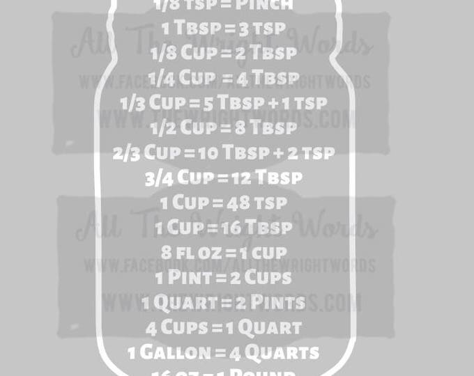 """14x6.5"""" Kitchen Conversions Vinyl Decal - Safe For Cabinets - Removable - Cups - Ounces - Tablespoons - Teaspoons"""