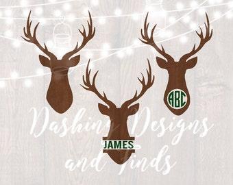 DIGITAL DOWNLOAD deer svg - deer head svg - southern svg - monogram svg - deer monogram svg - hunting svg - monogram frame svg - cut files