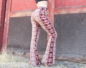 BOHEMIAN gypsy black pink brushed cotton 70's flare leg  hippie retro festival yoga beach lounge bell bottoms