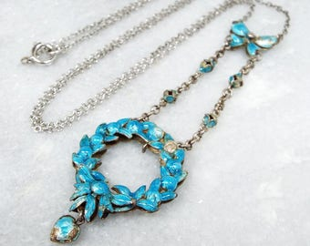 Antique Art Nouveau Sterling Silver Blue Enamel Flower & Bow Lavalier Necklace