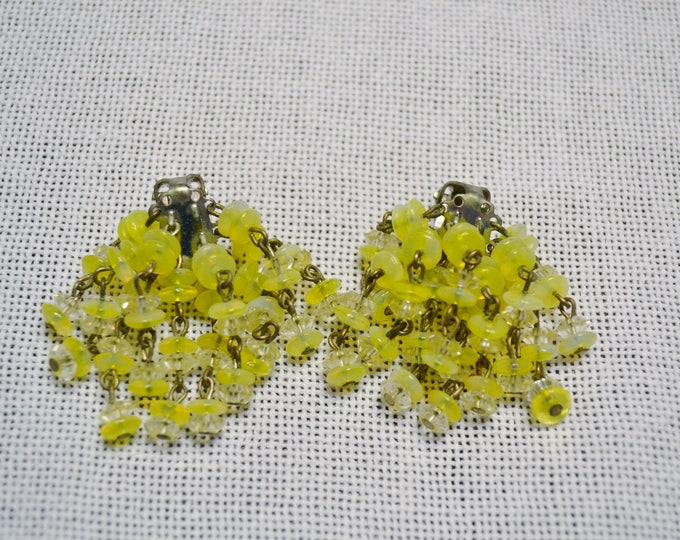 Vintage Clip On Earrings Dangling Yellow and Clear Beads Silver Tone Metal Collectible Costume Jewelry PanchosPorch