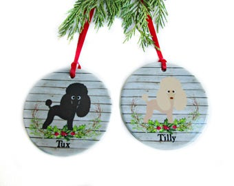 Poodle Christmas Ornament - Personalized Dog Ornament - Poodle Gifts - Pet Gifts - Dog Lover Gift - White, Black, Silver and Apricot Colors