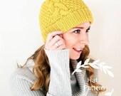 Knitting Pattern - Popham Double Brim Beanie Pattern - Knit Hat Pattern - Double Brim Knit Hat
