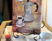 "Cafecito canvas print 8""x12""x0.75"", cuban coffee, cuban purculator"
