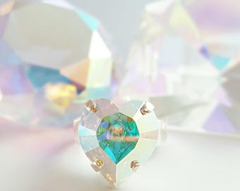 Crystal Heart Ring, Swarovski Heart Ring, Crystal AB Jewelry, April Birthstone, Diamond Heart Ring, Silver Heart Ring, Bling Ring, R2003