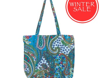 WINTER SALE - KANTHA Flower Bag - Turquoise Paisley - Carry size
