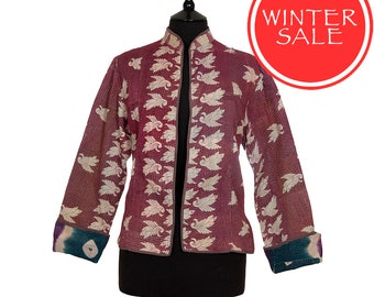 WINTER SALE - Small size - Short Kantha Jacket - Light aubergine. Reverse purple and teal