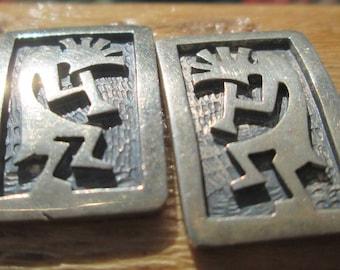 Hopi Kokopelli Overlay Sterling Post Earrings