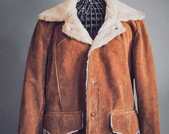 70's Western Suede Jacket - Kantex Leathers KT Brand - Shearling Sherpa Lined Rancher Coat - Made in USA - Mens Medium - Womens XL