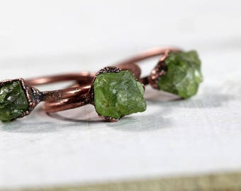 Peridot Ring Electroformed Ring Leo Birthstone Rough Stone Copper Ring Raw Peridot Green Gemstone August Stone Ring