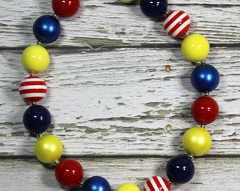 Disney Snow White Inspired Red, Blue and Yellow Handmade Chunky Bead Bubblegum Boutique Necklace