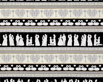 "Wedding Stripe, Swan Heart - ""I Do"" by Dan Morris - Quilting Treasures 25792 J Border Stripe - Priced by the Half Yard"
