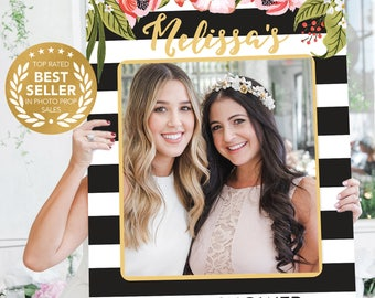 Bridal Shower Photo Prop - Wedding Photo Prop - Black and Gold - Stripes - DIGITAL FILE - Printed Option Available - Preppy