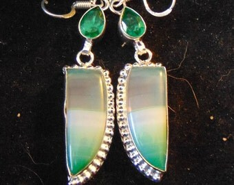 Botswana Agate and Peridot set in silver