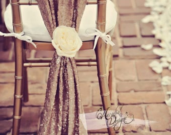 Rose Gold Sparkle Chiavari Chair Sash with Optional Silk Flower Head | Sequin Bridal Chair Slipcover for Bridal Shower Wedding Reception