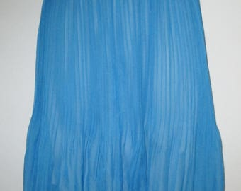 NEW Blue Chiffon Micro Pleat Summer Skirt Lined Elastic Waist Size Small