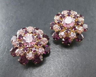 Vintage Purple Rhinestone Gold Tn Cluster Earrings Clip On 1950's Mid Century