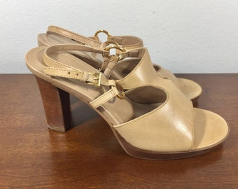 Apostrophe, Tan Leather Heels, 7.5, Shoes