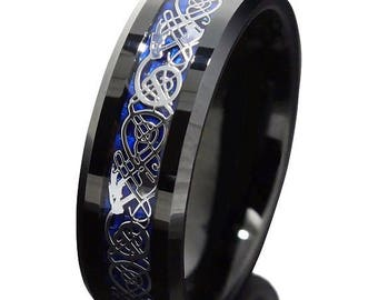 Ring AND Personalized High-Gloss Ring Box -- 8mm Black Tungsten Carbide Wedding Band Ring With Silver Celtic Dragon and Blue Fiber Inlay