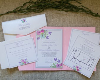 5x7 Pink Pocket Wedding Invitation with Pastel Florals in Purple, Blue, and Yellow with Flower Envelope Liner & Return Address Printing