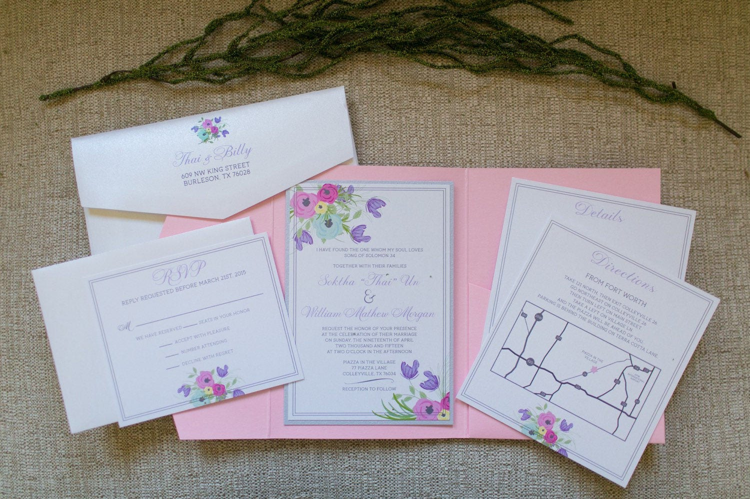 5x7 Pink Pocket Wedding Invitation with Pastel Florals in Purple ...
